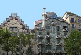 Casa Batllo, famous for being made entirely out of curves - not a straight line in sight. (Gaudi again, of course.)