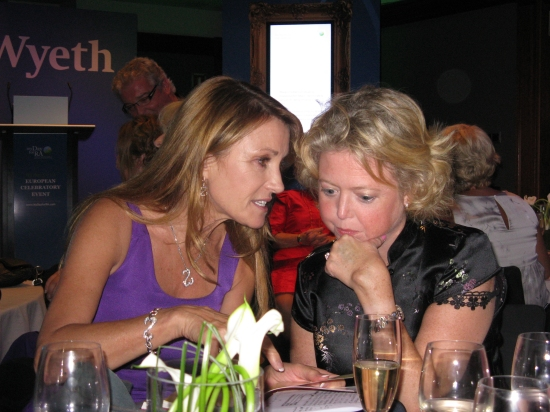 Terry (right) with her new best friend, Jane Seymour (taking a break from the Opera and Spanish conversation on her table, behind us)